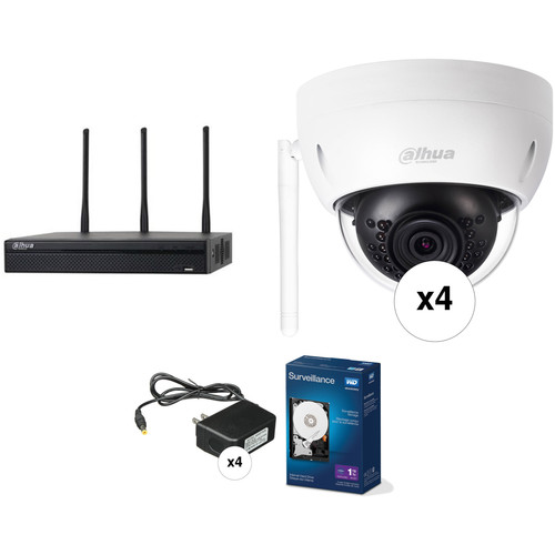 Dahua Technology Wi-Fi Series 4-Channel 5MP NVR with 1TB HDD & 4 3MP Outdoor Wi-Fi Night Vision Dome Cameras