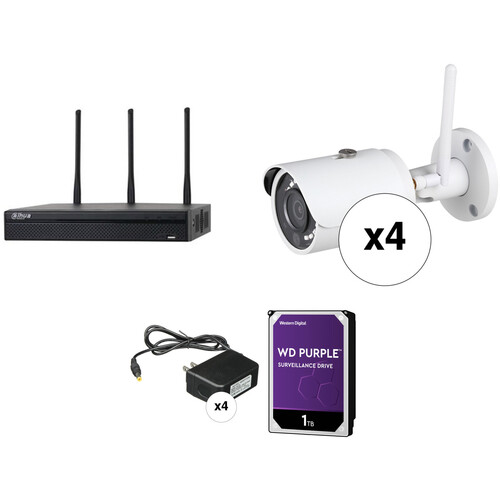 Dahua Technology Wi-Fi Series 4-Channel 5MP NVR with 1TB HDD & 4 3MP Outdoor Wi-Fi Night Vision Bullet Cameras