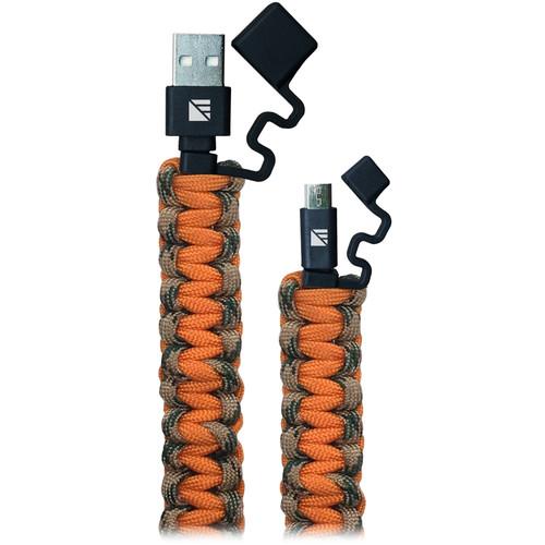 Dark Energy Lightning Paracord Charging Cable (2', Camouflage / Orange)