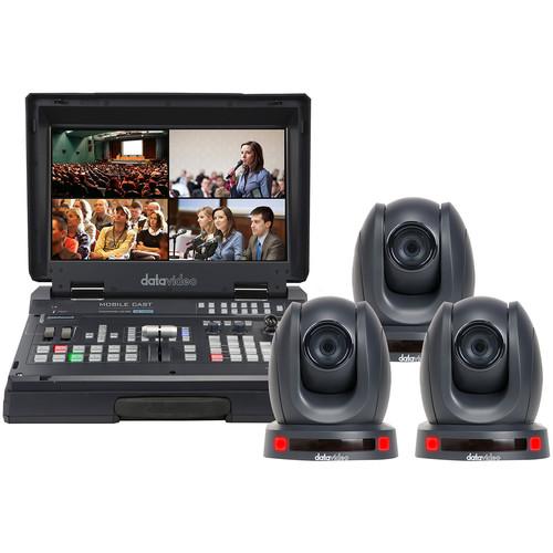 Datavideo HS-1500T Mobile Studio Kit with 3x PTC-140 HDBaseT PTZ Cameras