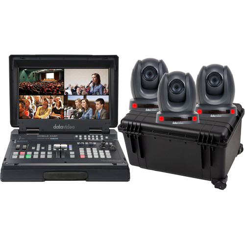 Datavideo HS-1500T Mobile Studio Kit with 3 x PTC-140T and Hard Rolling Case
