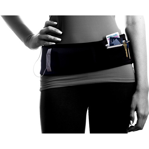 DBelt PRO Smartphone Fitness Belt (XS, Black/Reflective Gray Trim)