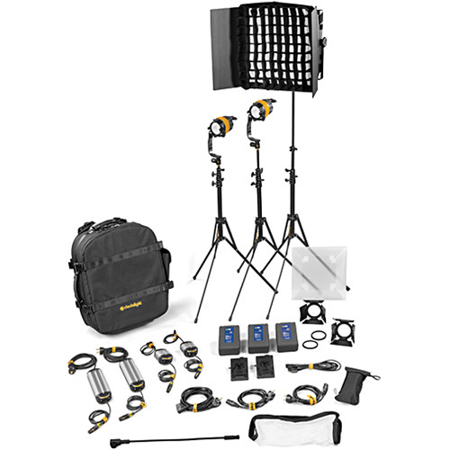 Dedolight DLED4.1/Felloni 2x1 Daylight 3-Light Master Kit (Mains & Battery Operation)