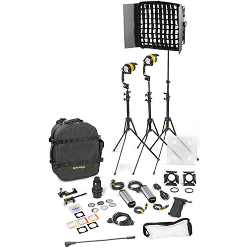 Dedolight DLED4.1/Felloni 2x1 Daylight 3-Light Standard Kit (Mains Operation)