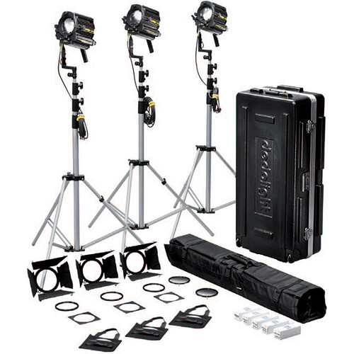 Dedolight K3x650 Standard 650W Tungsten 3-Light Kit (120VAC)