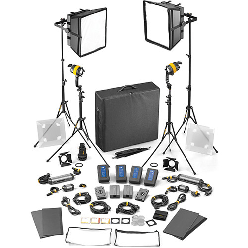 Dedolight DLED4/Felloni 2x2 Daylight 4-Light Master Kit (Mains & Battery Operation)