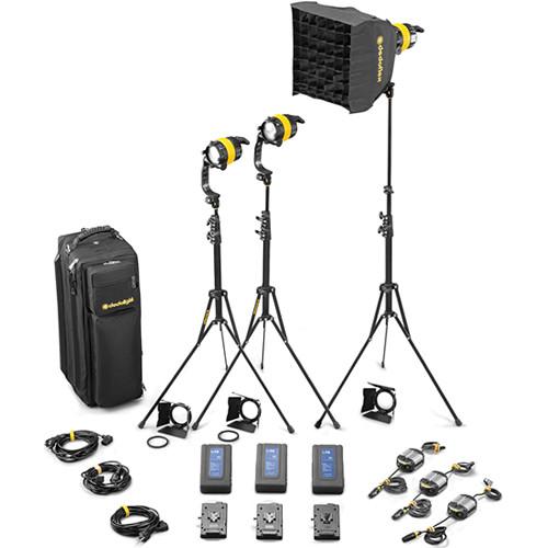Dedolight DLED4-BI Bi-Color LED 3-Light Battery Kit (Battery Operation)