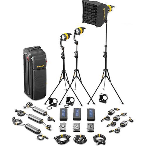 Dedolight DLED4-BI Bi-Color LED 3-Light Standard Kit (Mains & Battery Operation)