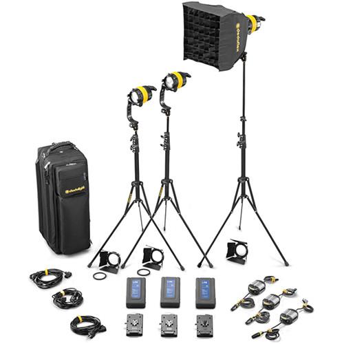 Dedolight DLED4-D Daylight LED 3-Light Battery Kit (Battery Operation)