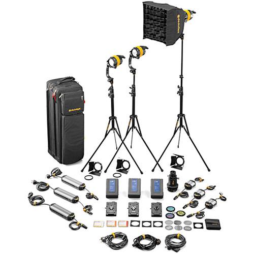 Dedolight DLED4-D Daylight LED 3-Light Master Kit (Mains & Battery Operation)