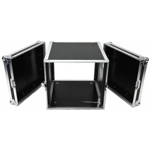 """DeeJay LED DJ Amplifier Rack Fly Drive Case with Wheels (21"""" Deep, 10 RU)"""