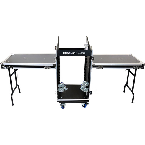 DeeJay LED 11 RU Slant Mixer Rack / 16 RU Vertical Rack System Combo Case with Caster Board and Two Tables