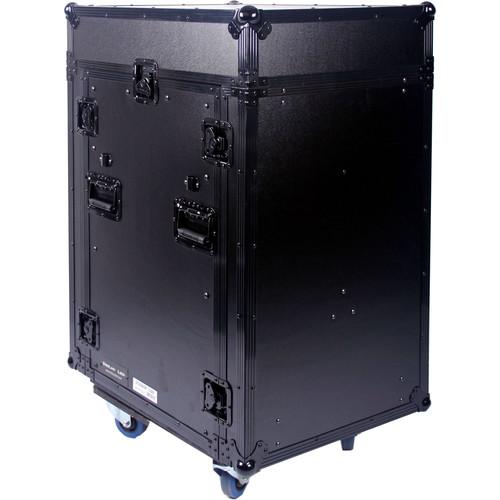 DeeJay LED 11 RU Slant Mixer Rack / 16 RU Vertical Rack System Combo Case with Caster Board (Black)