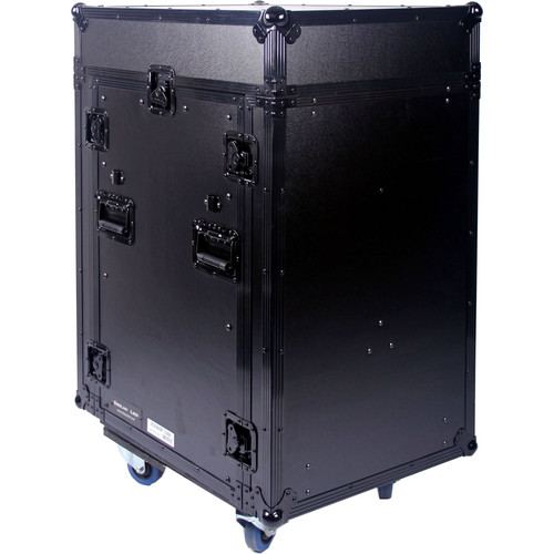 DeeJay LED 11 RU Slant Mixer Rack / 16 RU Vertical Rack System Combo Case with Caster Board (Black)