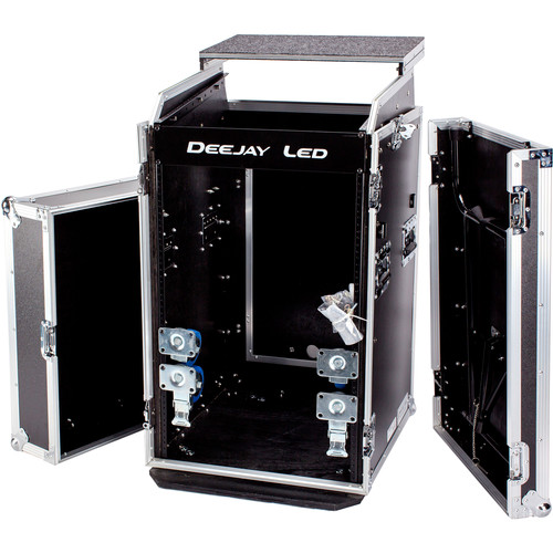 """DeeJay LED 11 RU Slant Mixer Rack / 16 RU Vertical Rack System Combo Case with Caster Board, Table, and 17"""" Laptop Shelf"""