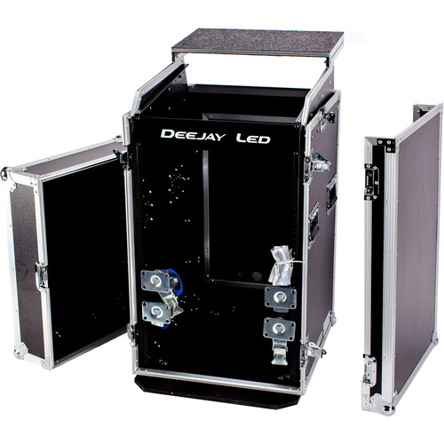 "DeeJay LED 11 RU Slant Mixer Rack / 16 RU Vertical Rack System Combo Case with Caster Board and 17"" Laptop Shelf"
