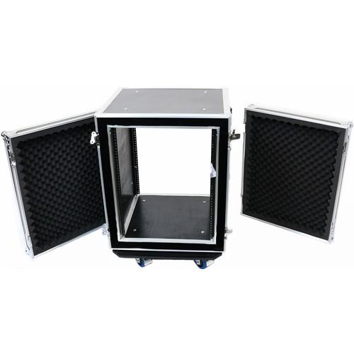 """DeeJay LED 14 RU Shock Mount Amplifier Deluxe Case (21"""" Deep)"""