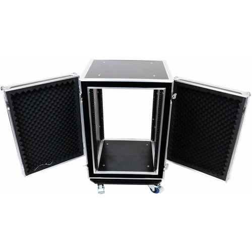 """DeeJay LED Flight Road Case for 16 RU Shock Mount Amplifier (21"""" Body Depth, Wheels)"""