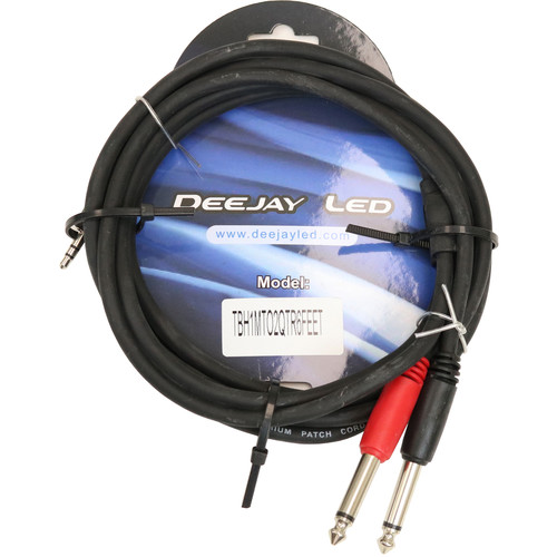 """DeeJay LED 3.5mm Stereo TRS to 2-1/4"""" Mono Male Cable - 3'"""