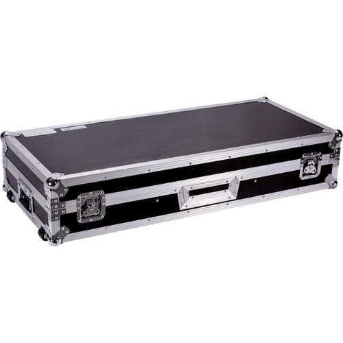 DeeJay LED Fly Drive DJ Coffin Case for Two Turntables in Battle Style Position and One Pioneer DJM900 Nexus with Laptop Shelf