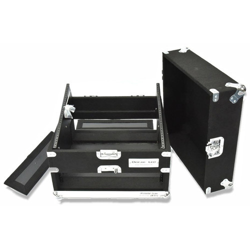 DeeJay LED Slant Rack Drive Tour Case (2 RU for Amplifier, 10 RU for Mixer)