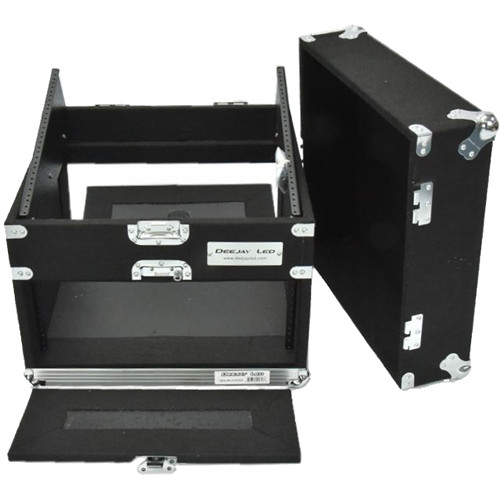 DeeJay LED Slant Rack Drive Tour Case (4 RU for Amplifier, 10 RU for Mixer)