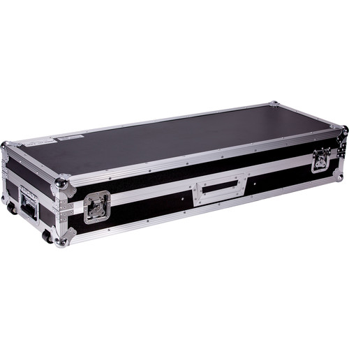 "DeeJay LED Fly Drive DJ Coffin Case for Two Turntables and 10"" Mixer with Laptop Shelf and Wheels"