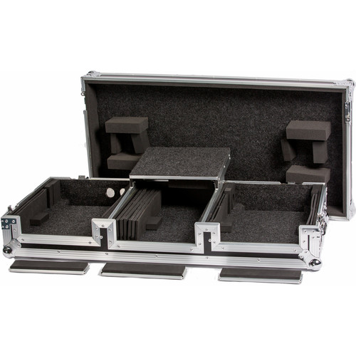 """DeeJay LED Universal DJ Coffin Case for 2 CD Players & 10"""" Mixer with Sliding Laptop Shelf"""