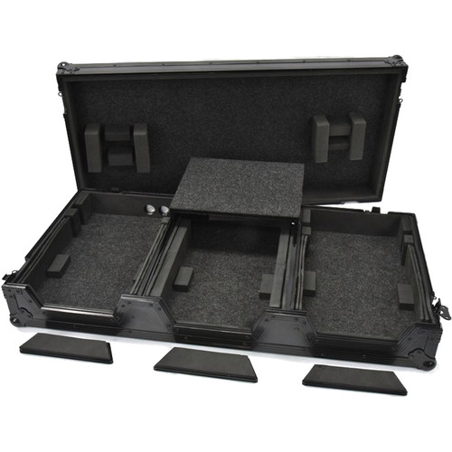 DeeJay LED DJ Fly Drive Case for Two Pioneer CDJ2000 Multi Players / DJM-900 Mixers with Laptop Shelf & Wheels