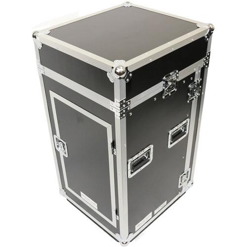 DeeJay LED Fly Drive Case10U, Slant Mixer Rack/16U Vertical Rack System with Full AC Door & Caster Board