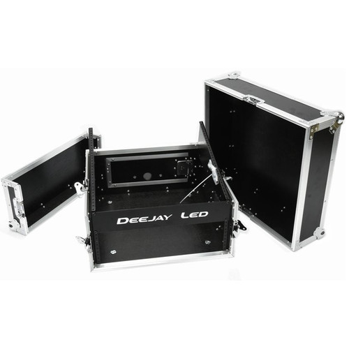 DeeJay LED Fly Drive Amplifier Rack Case with 10 RU Slant Mixer Rack and 3 RU Vertical Rack