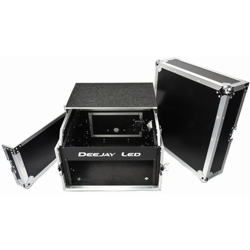 DeeJay LED Fly Drive Rack Case with Laptop Shelf for 4 RU Amplifier