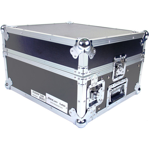 DeeJay LED Fly Drive Case - Slanted 8 RU Mixer Rack / 2 RU Vertical Rack