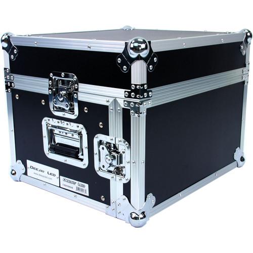 DeeJay LED Fly Drive Case - Slanted 8 RU Mixer Rack / 4 RU Vertical Rack