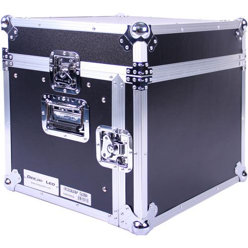 DeeJay LED Fly Drive Case - Slanted 8 RU Mixer Rack / 6 RU Vertical Rack