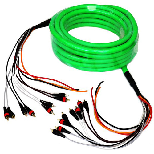DeeJay LED Medusa Snake -8-RCA to 8-RCA (Shielded) + 3-Power Wires - 36'