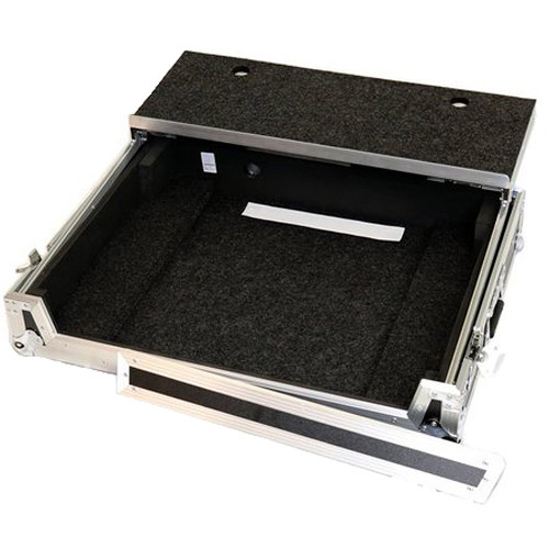 DeeJay LED Fly Drive Case for Denon Prime4 System or Similar with Laptop Shelf and Wheels