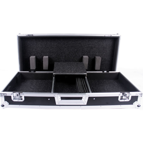 DeeJay LED Fly Drive Case for Two Battle Style Turntables and DJM-S9 Mixer with Laptop Shelf