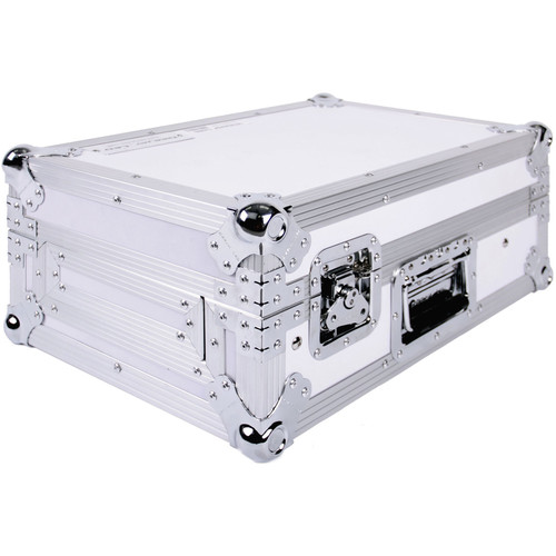 DeeJay LED Fly Drive Case for Two Standard Style Turntables and DJM-S9 Mixer with Laptop Shelf (White)