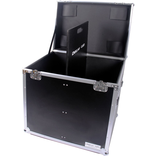 DeeJay LED Fly Drive Utility Trunk Case with Caster Board & Adjustable Compartment (Black)