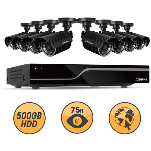 Defender 21048 16-Channel DVR with 8 Hi-Res Outdoor Surveillance Cameras