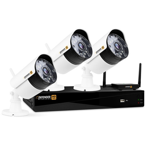 Defender 4-Channel 1080p DVR with 1TB HDD and 3 1080p Wireless Bullet Cameras