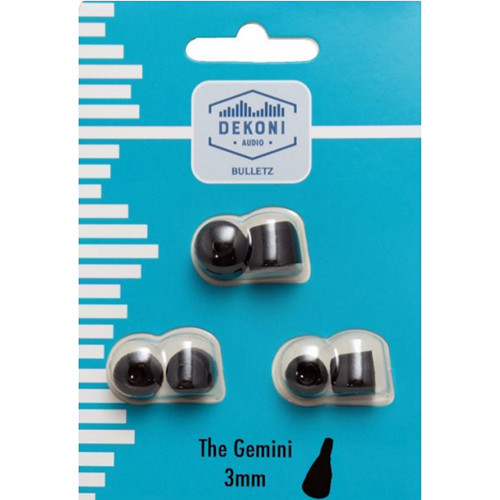 Dekoni Audio The Gemini Memory Foam Earphone Tips 3mm, (Black, 3-Pack)