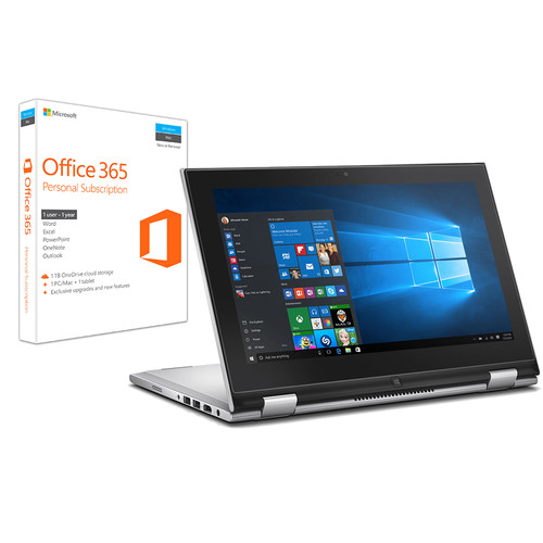 "Dell Dell 11.6"" Inspiron 11 3000 Multi-Touch 2-in-1 Notebook Kit with Microsoft Office 365 Personal"