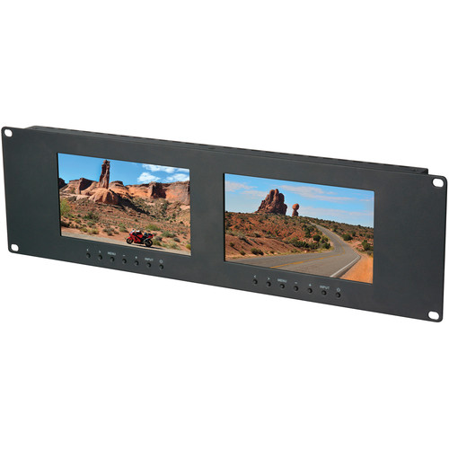 """Delvcam Dual 7"""" 3 RU VGA, DVI, & Composite LCD Video Monitor"""