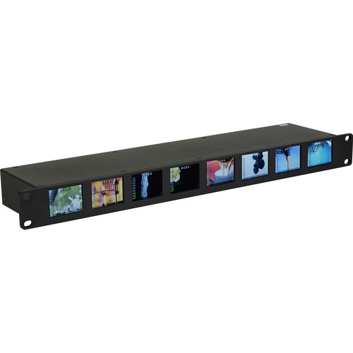 Delvcam OctoMon 3G-SDI 8-Panel LCD 1 RU Rackmount Video Monitor