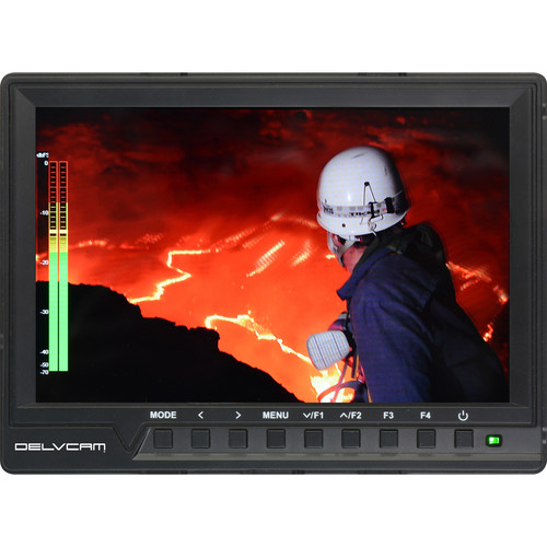 "Delvcam 7"" 4K Compatible 1080p Camera-Top Monitor with Audio Meter"