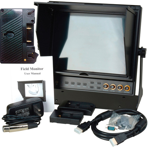 """Delvcam 9.7"""" Dual Input HDMI Monitor with AB Gold Mount Type Battery Plate & Sun Hood"""