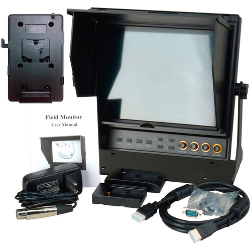 """Delvcam DELV-HDSD-10-VM 9.7"""" Dual HDMI LCD Monitor and V-Mount Battery Plate"""