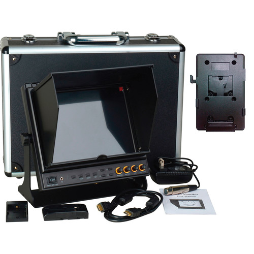 "Delvcam 9.7"" 3G-SDI & HDMI Monitor with V-Mount Type Battery Plate & Sun Hood"